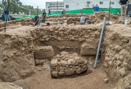 The construction site in Nahariya where an ancient fortress was unearthed. Credit: Israel Antiquities Authority.