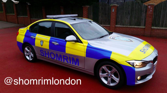 The London-based Jewish watchdog group Shomrim (car belonging to the group pictured here) reported that three British Jews were attacked with gas canisters and anti-Semitic language on Wednesday. Credit: Screenshot via Twitter.