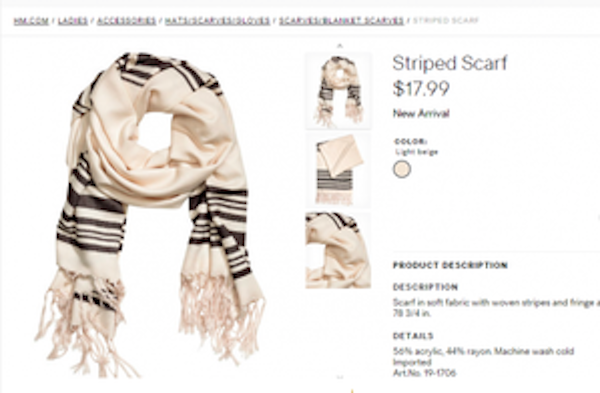 This shawl sold by H&M bears a striking resemblance to the Jewish tallit. Credit: Screenshot from H&M website.