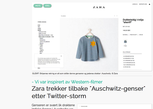 "The ""Sheriff"" shirt was sold by the clothing chain Zara in August of 2014 but was later pulled from the store due to a strong resemblance to the uniform of Jewish concentration camp prisoners. Credit: Screenshot of Klikk.no."