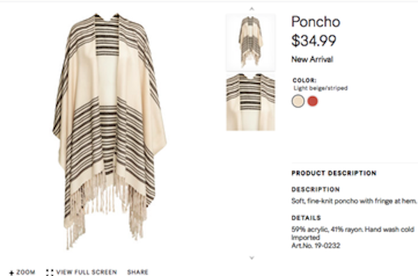 Another item sold by H&M with a resemblance to the Jewish tallit. Credit: Screenshot from the H&M website.