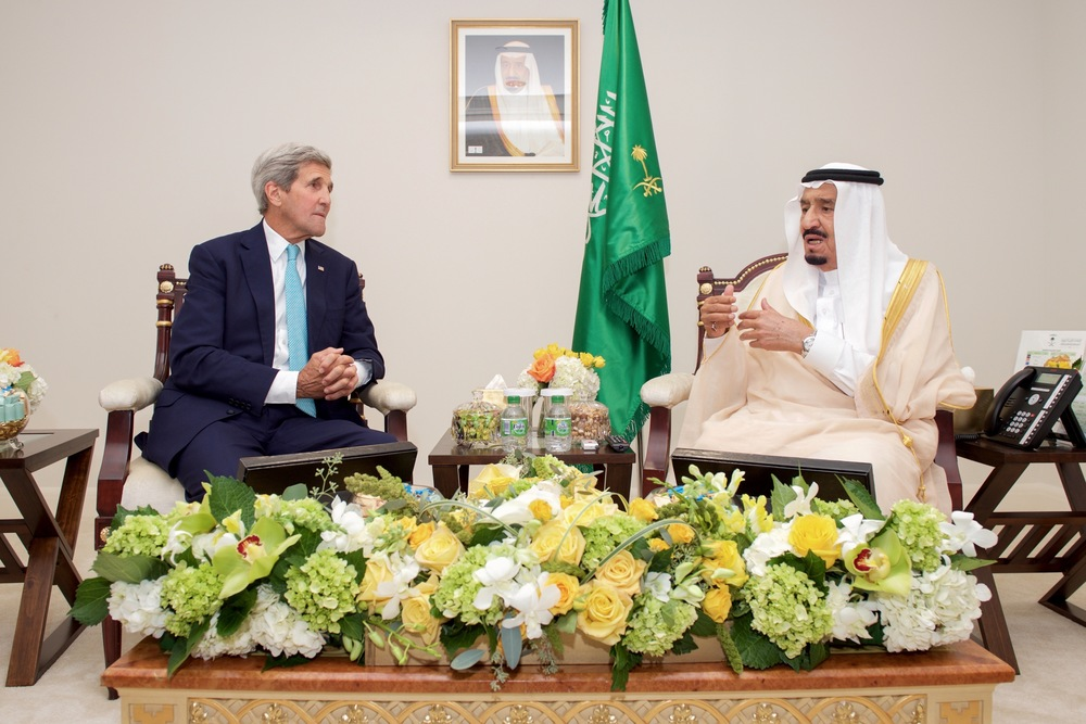 Click photo to download. Caption: U.S. Secretary of State John Kerry (left) meets with King Salman of Saudi Arabia on Sept. 3, 2015, in Washington, DC. Some experts are linking Iranian-Saudi tensions to the U.S. pullback from the Middle East region and the Saudis' belief that America doesn't have their back. Credit: U.S. Department of State.