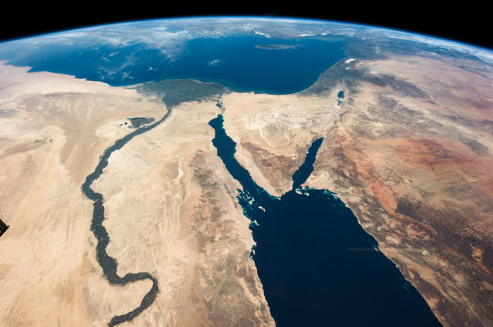 "Click photo to download. Caption: A satellite image of the Middle East that was captioned by NASA astronaut Chris Hadfield, ""The Nile and the Sinai, to Israel and beyond. One sweeping glance of human history."" Credit: Julian Herzog/NASA via Wikimedia Commons."
