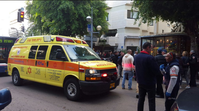 The scene of the Jan. 1 deadly shooting attack at a pub in Tel Aviv. Credit: Magen David Adom via Twitter.