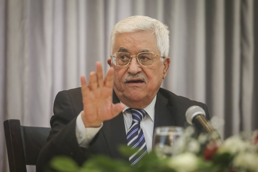Click photo to download. Caption: Palestinian Authority President Mahmoud Abbas speaks in Bethlehem on Jan. 6, 2016. Credit: Flash90.