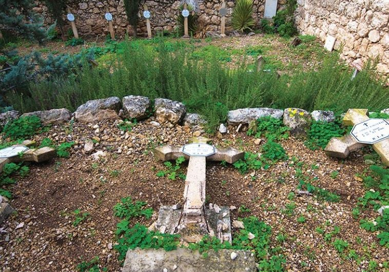 Damage to cruciform tombstones at the Beit Jamal monastery in Israel. Credit: Latin Patriarchate of Jerusalem.