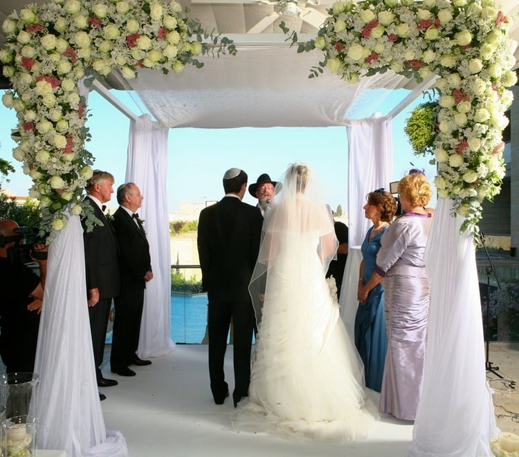 Click photo to download. Caption: A chuppah (Jewish wedding canopy) in Jerusalem. Credit: Nikki Fenton.