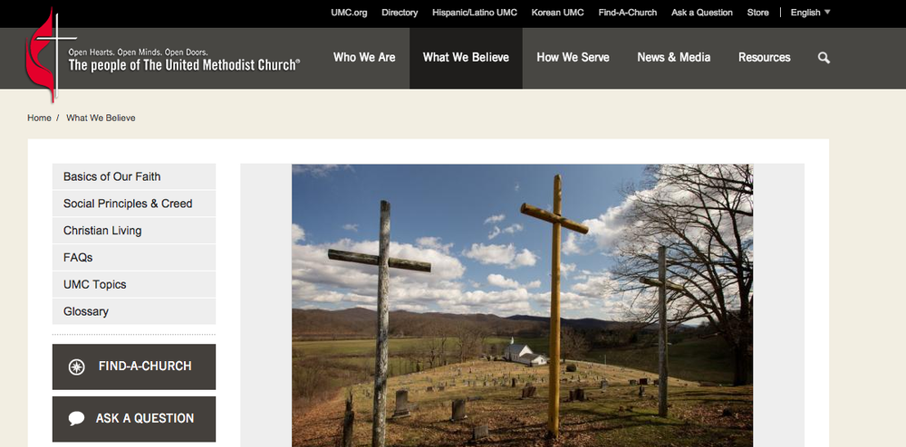The homepage of the United Methodist Church website. Credit: Screenshot.