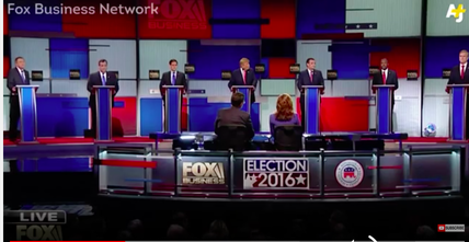Top-tier GOP candidates debated a range of issues, including foreign policy, in Thursday night's Republican primary debate on the Fox Business network. Credit: YouTube screenshot.