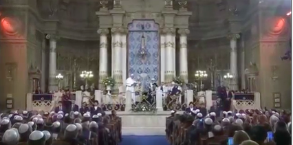 Pope Francis visits the Great Synagogue in Rome on Sunday. Credit: YouTube screenshot.