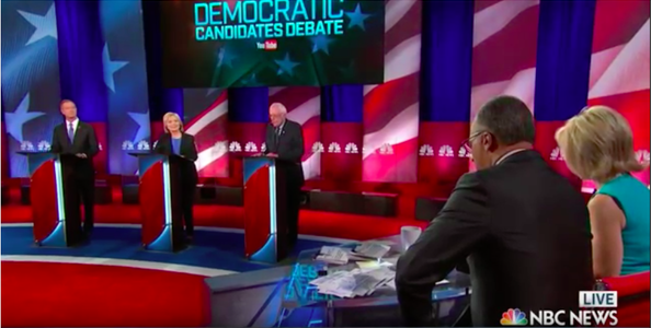 Democratic primary nominees, Hillary Clinton, Sen. Bernie Sanders (I-Vt.) and former Maryland governor Martin O'Malley debated their policies on Sunday in the NBC/YouTube Democratic primary debate in Charleston, S.C. Credit: YouTube screenshot.