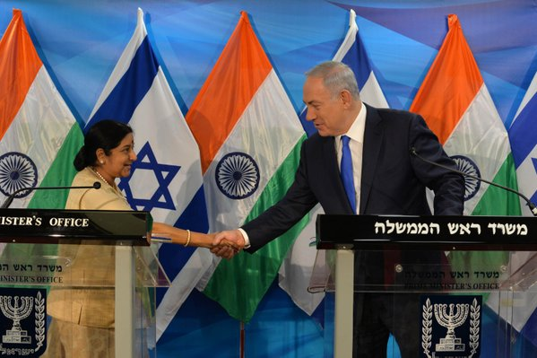 Indian Foreign Minister Sushma Swaraj meets Israeli Prime Minister Benjamin Netanyahu on Monday. Credit: PM of Israel via Twitter.