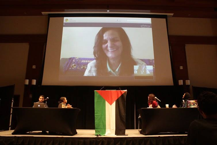 Click photo to download. Caption: Students for Justice in Palestine features convicted terrorist Rasmea Odeh as the keynote speaker at its national conference in San Diego last October. Credit: Facebook.