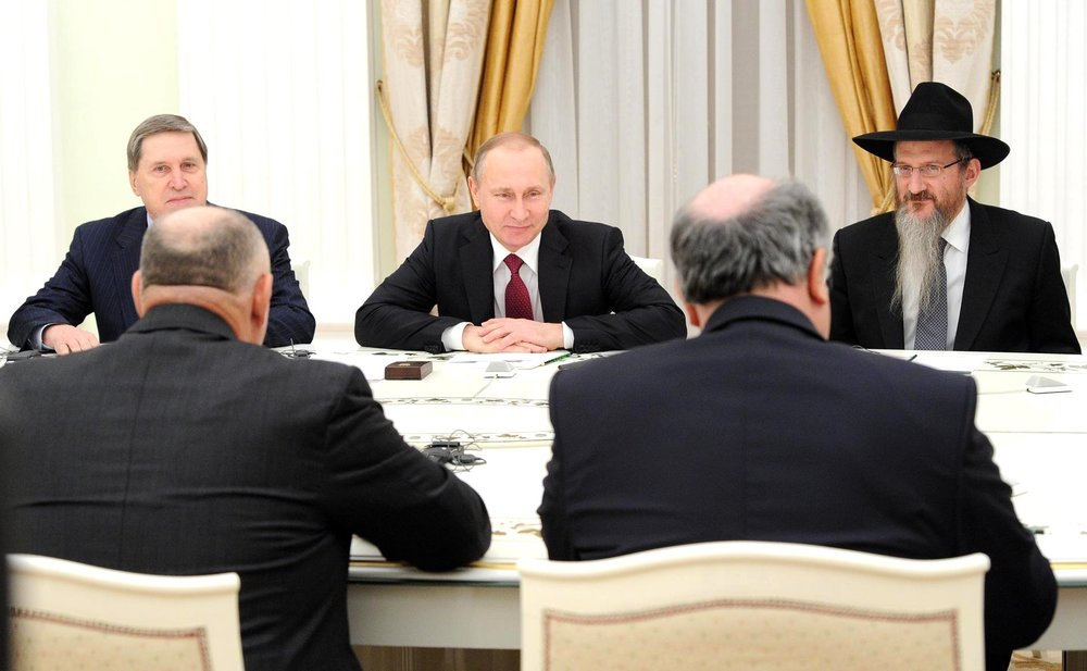 Russian President Vladimir Putin meets with European Jewish leaders in Moscow. Credit: Kremlin.ru.