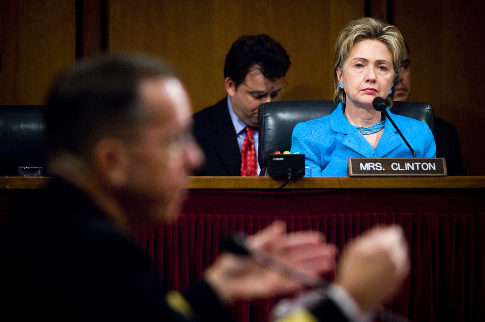 Click photo to download. Caption: During her time representing New York in the U.S. Senate, Hillary Clinton (right) attends a hearing of the Senate Armed Services Committee on July 31, 2007. Credit: DoD photo by Mass Communication Specialist 1st Class Chad J. McNeeley, U.S. Navy.