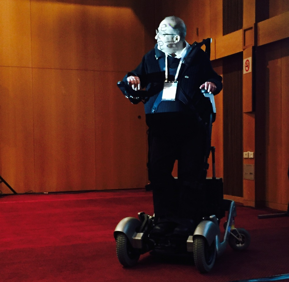 Click photo to download. Caption: Dr. Oren Tamari presents UpNRide mobility solution for people bound to wheelchairs at the OurCrowd Global Investor Summit in Jerusalem on Jan. 25. Credit: Maayan Jaffe-Hoffman.
