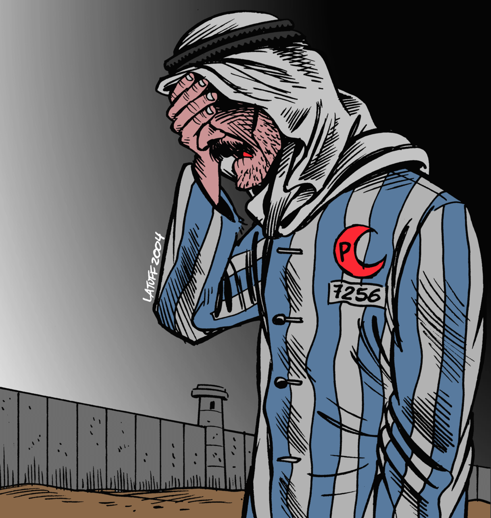 "Click photo to download. Caption: The cartoon pictured here, titled ""IsraHell's concentration camp,"" won the second-place prize in the Iranian government-sponsored Holocaust cartoon contest in 2006. Credit: Carlos Latuff via Wikimedia Commons."
