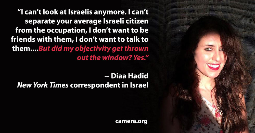 A poster from the CAMERA media watchdog on Diaa Hadid, an Israel correspondent for the New York Times. Credit: CAMERA.