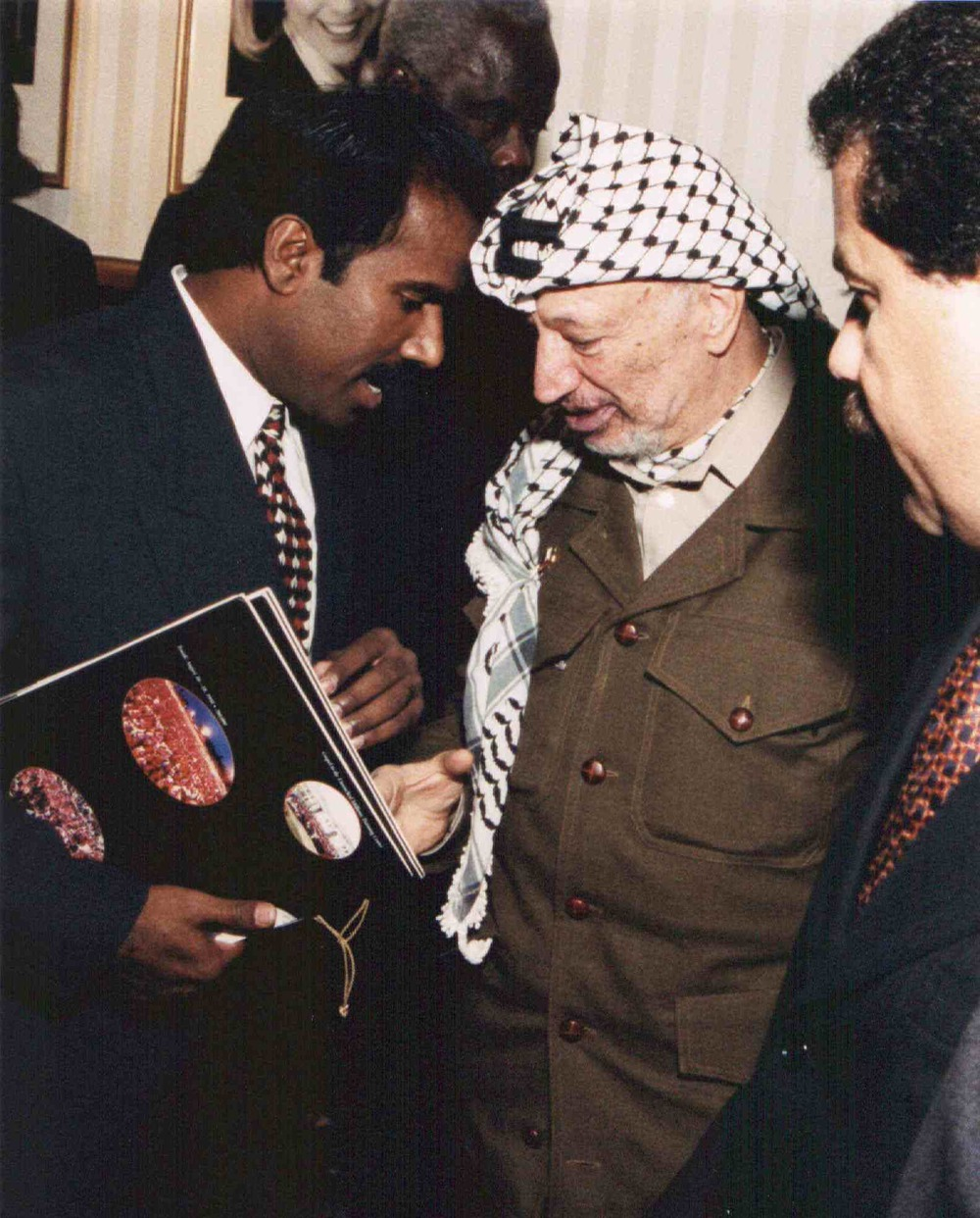 Click photo to download. Caption: Dr. K.A. Paul (left) with Palestinian leader Yasser Arafat. Credit: Courtesy of Global Peace Initiative.