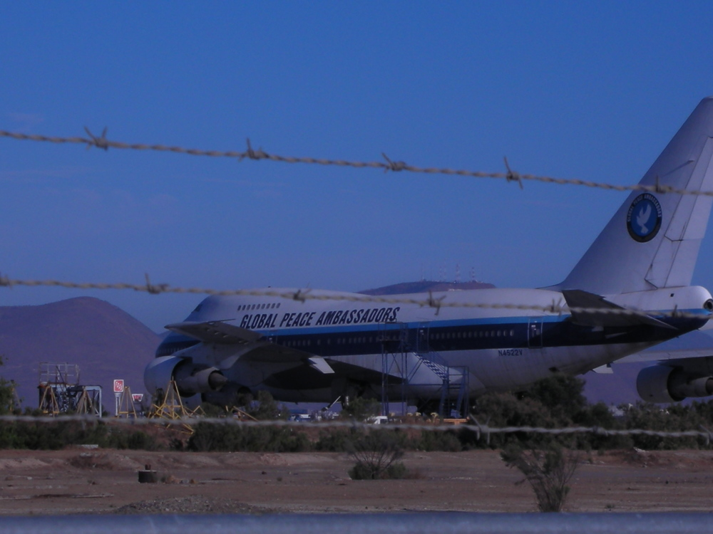 "Click photo to download. Caption: K.A. Paul's ""Global Peace Ambassadors"" 747 plane is pictured in Tijuana, Mexico, where Paul says it has been grounded for a decade. Credit: Courtesy of Global Peace Initiative."