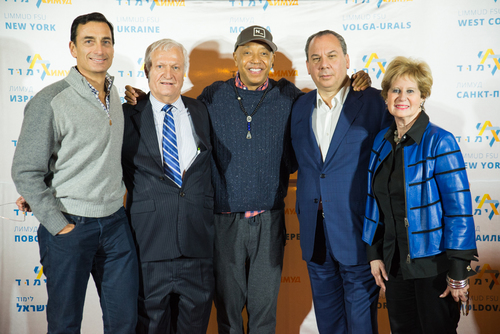 Click photo to download. Caption: Gathering at the first Limmud FSU West Coast conference are, from left to right: Limmud FSU Chair Matthew Bronfman, Limmud FSU Founder Chaim Chesler, hip-hop mogul Russell Simmons, Rabbi Marc Schneier, and Limmud FSU Co-Founder Sandra Cahn. Credit: Anya Kernes.