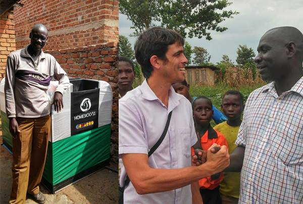 Israeli biotech firm Homebiogas installs one of its renewable energy units at a Ugandan orphanage. Credit: Facebook.
