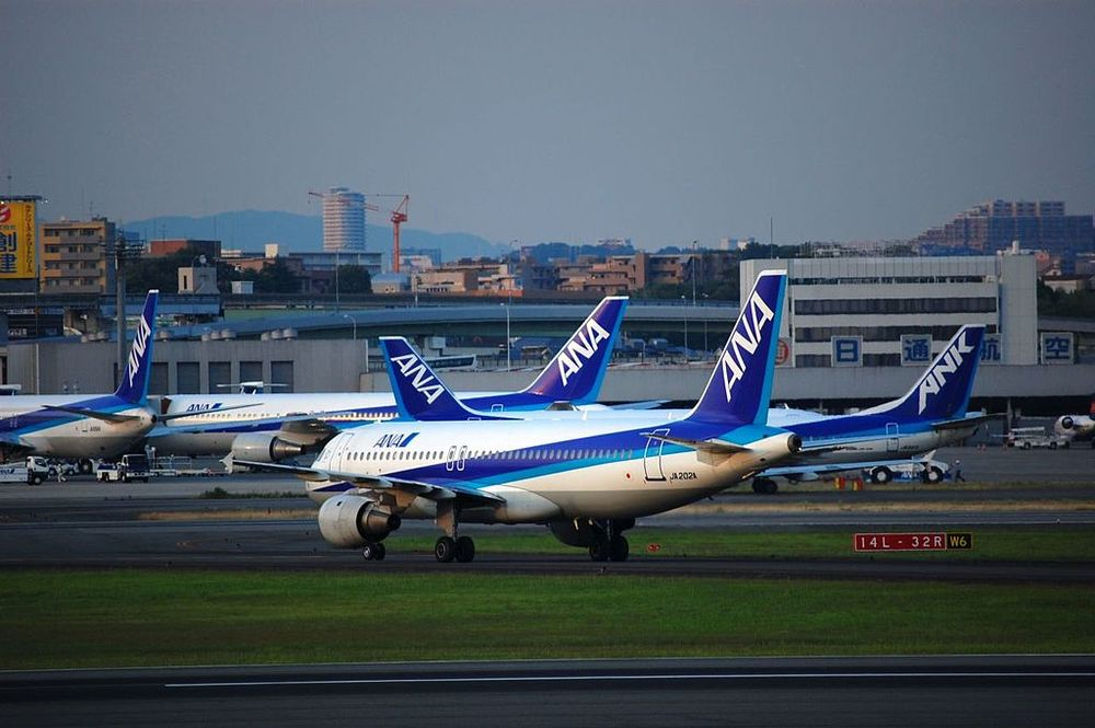 The ANA Fleet at Osaka-Itami Airport, Japan. Credit: Wikimedia Commons.