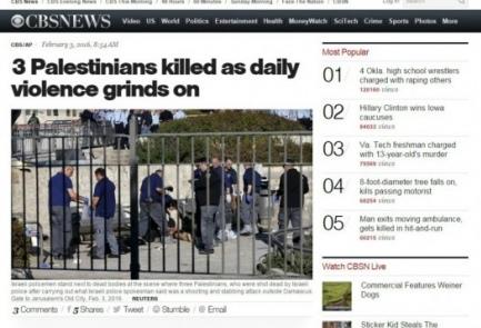 The original CBS headline on the Palestinian terror attack near Jerusalem's Damascus Gate on Wednesday. Credit: Screenshot.