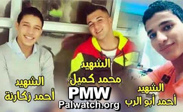 """The Fatah Facebook page posts a picture of the three late Palestinian terrorists who carried out Wednesday's attack at Jerusalem's Damascus Gate, calling them each a """"martyr."""" Credit: Palestinian Media Watch."""