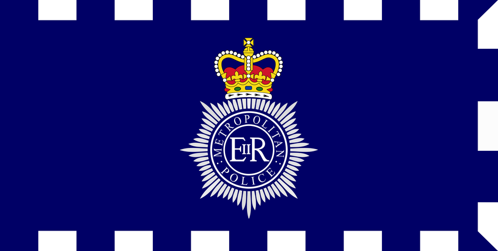 The flag of London's Metropolitan Police. Credit: Wikimedia Commons.