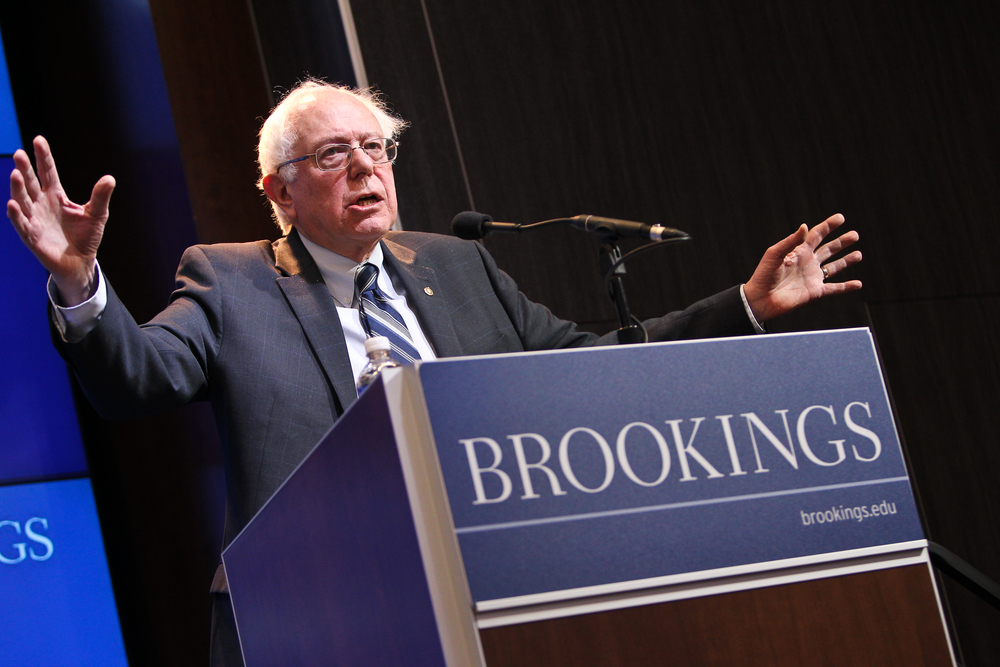 In February 2015, Sen. Bernie Sanders (I-Vt.) speaks at an event hosted by the Brookings Institution. Credit: Paul Morigi Photography/Brookings Institution via Flickr.com.