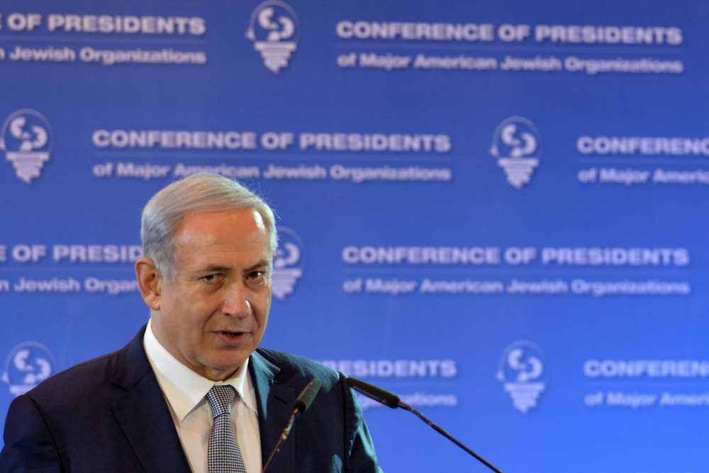 Click photo to download. Caption: Israeli Prime Minister Benjamin Netanyahu addresses visiting leaders from the Conference of Presidents of Major American Jewish Organizations at the Inbal hotel in Jerusalem on Feb. 14, 2016. Credit: Kobi Gideon/GPO.