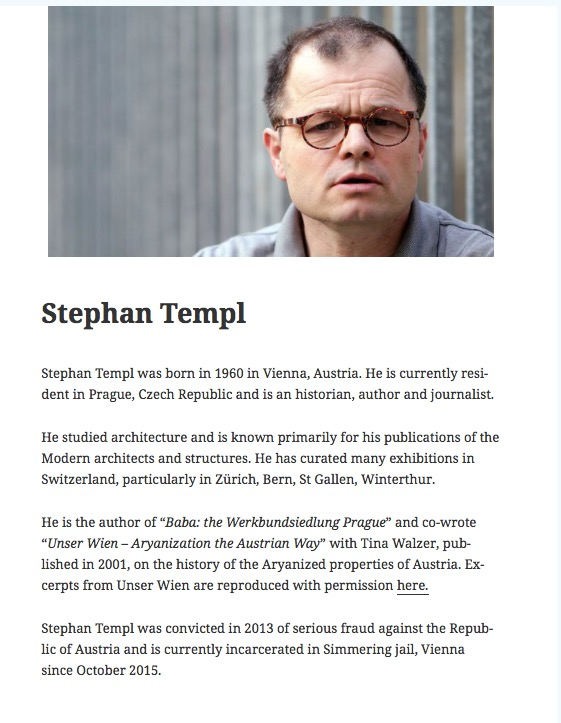 Stephan Templ's biography. Credit: Screenshot via stephantempl.com.