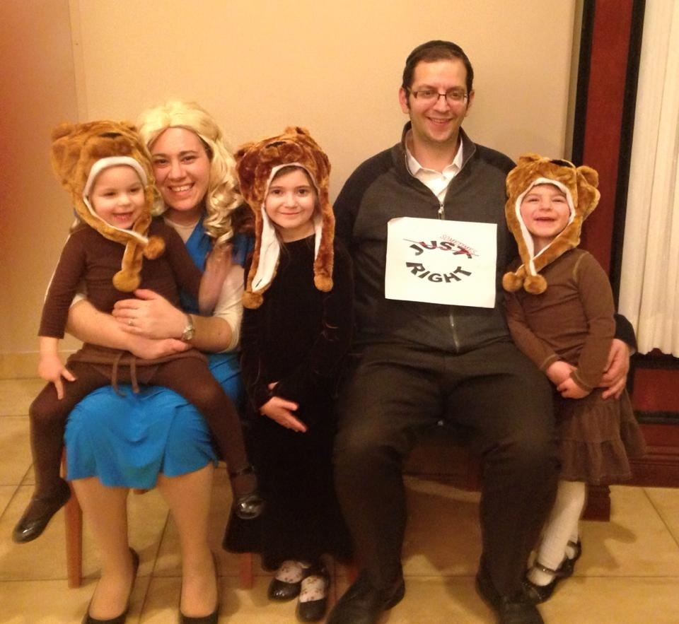 "Click photo to download. Caption: The Schwartz family's ""Goldilocks and the Three Bears"" Purim costume theme. Credit: Courtesy Schwartz family."