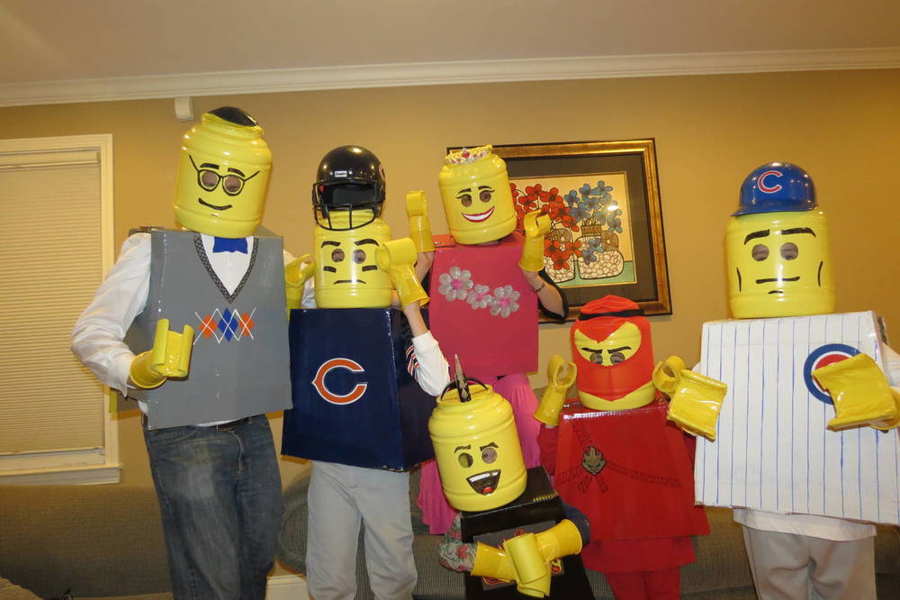 Click photo to download. Caption: One year for Purim, Neeli Engelhart and family of Modi'in, Israel, dressed up as a Lego family. Credit: Courtesy Engelhart family.