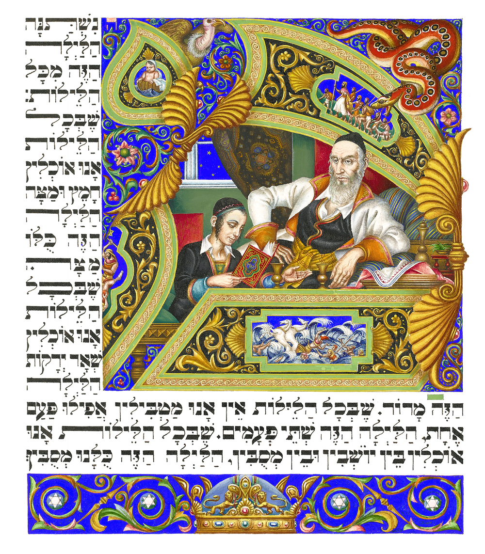 Click photo to download. Caption: In this example of a creative self-made Passover haggadah page, Arthur Szyk to make a strong statement against the Nazis in the 1930s, but no publisher in his native Poland would take on a project with strong anti-Nazi iconography. He ultimately found a publisher in England. This image shows an older bearded man listening as a young boy reads the traditional Four Questions of the Passover seder. In the top right corner is a red snake, understood to be Nazism-coiled as if ready to strike. Credit: Arthur Szyk via the Arthur Szyk Society/Wikimedia Commons.
