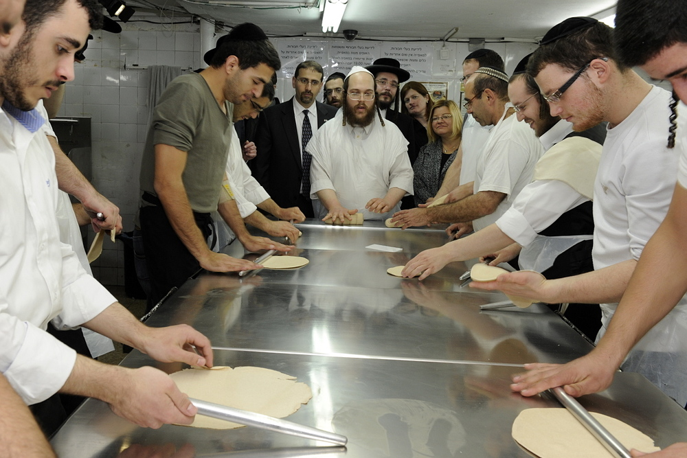 Click photo to download. Caption: Hand-made matzah production in the Meah She'arim neighborhood of Jerusalem in March 2012. Credit: U.S. Embassy Tel Aviv.