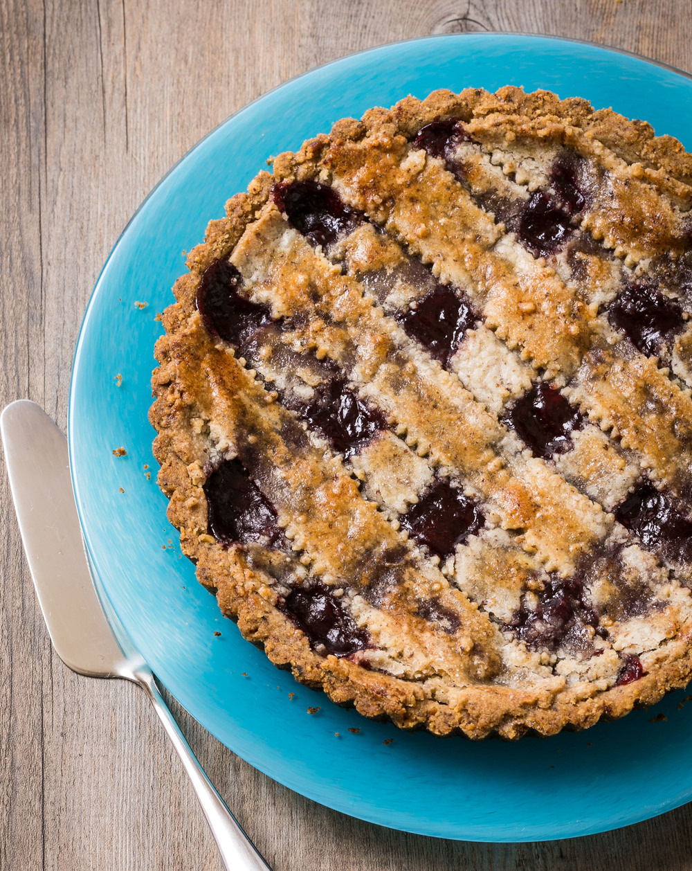 Click photo to download. Caption: Paula Shoyer's Passover-friendly Linzer tart. Credit: The New Passover Menu.
