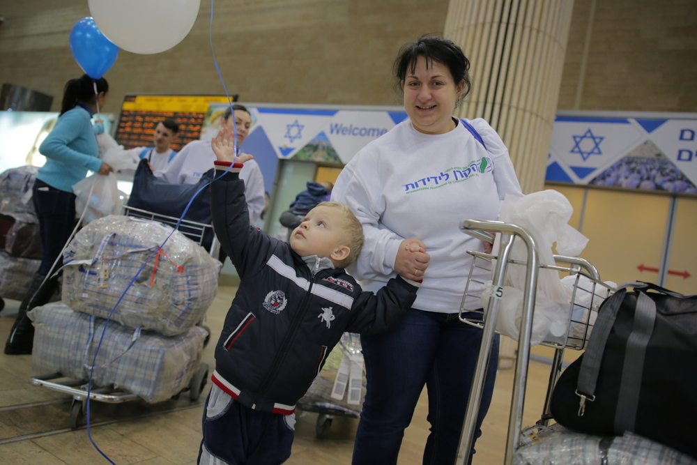 Two of the newest Ukrainian immigrants to Israel. They arrived Tuesday on a flight sponsored by the International Fellowship of Christians and Jews. Credit: Daniel Bar-On.
