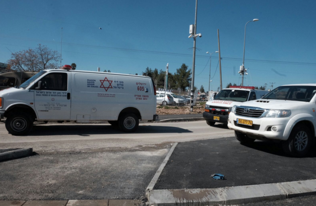 Magen David Adom responds to the scene of Wednesday's Palestinian terror attack at the Gush Etzion Junction. Credit: Magen David Adom via Twitter.