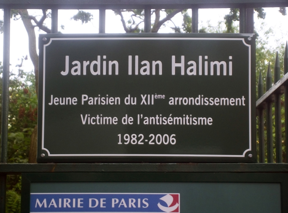 Click photo to download. Caption: A plaque in Paris in memory of Ilan Halimi, the French Jew who was kidnapped and murdered in 2006. Credit: Poulpy via Wikimedia Commons.