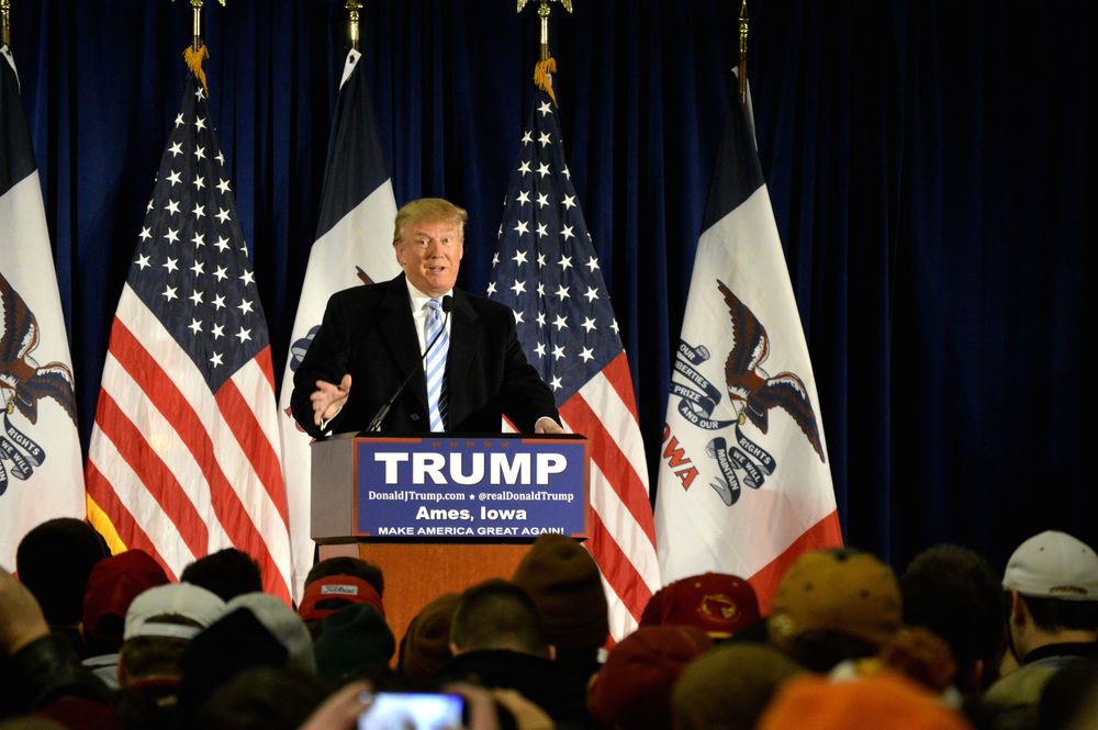 Click photo to download. Caption: Donald Trump speaks at Iowa State University on Jan. 19, 2016. Credit: Alex Hanson via Wikimedia Commons.