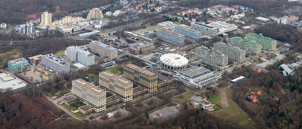 An aerial view of Germany's Ruhr University Bochum. Credit: Tuxyso via Wikimedia Commons.