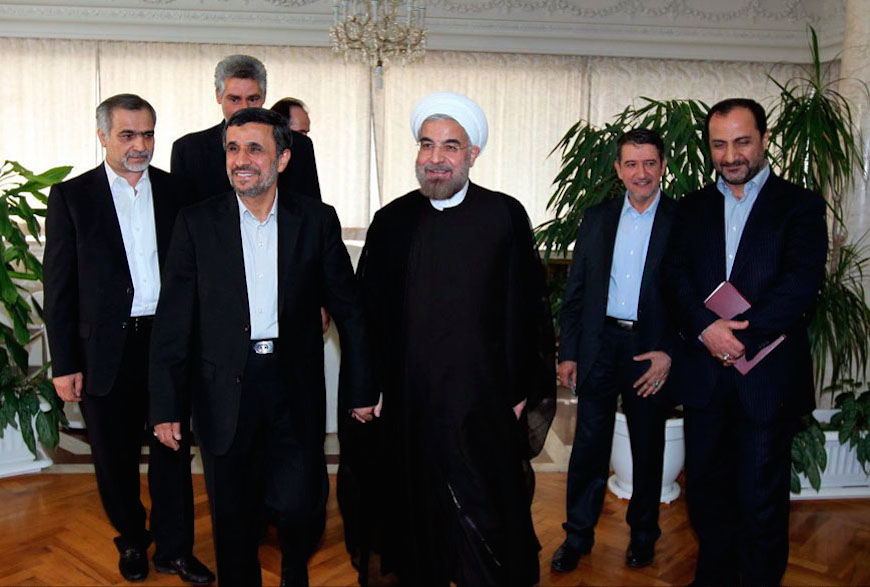 Click photo to download. Caption: Iranian President Hassan Rouhani (center) with his predecessor, Mahmoud Ahmadinejad (second from left), in June 2013. Credit: Wikimedia Commons.