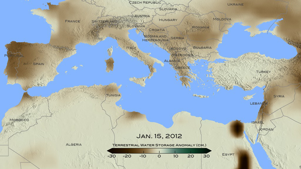 In the pictured NASA graphic indicating conditions in January 2012, brown shades show the decrease in water storage from the 2002-2015 average in the Mediterranean region (units in centimeters). Credit: NASA/Goddard Scientific Visualization Studio.