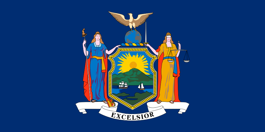 The flag of New York State. Credit: Wikimedia Commons.