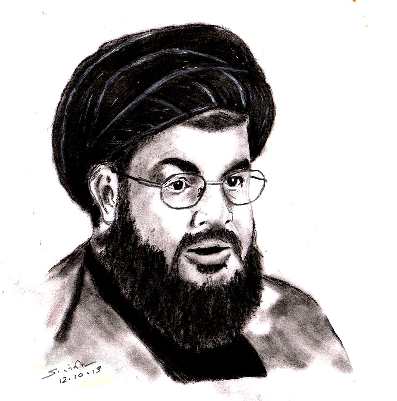 A drawing of Hezbollah leader Hassan Nasrallah. Credit: Wikimedia Commons.