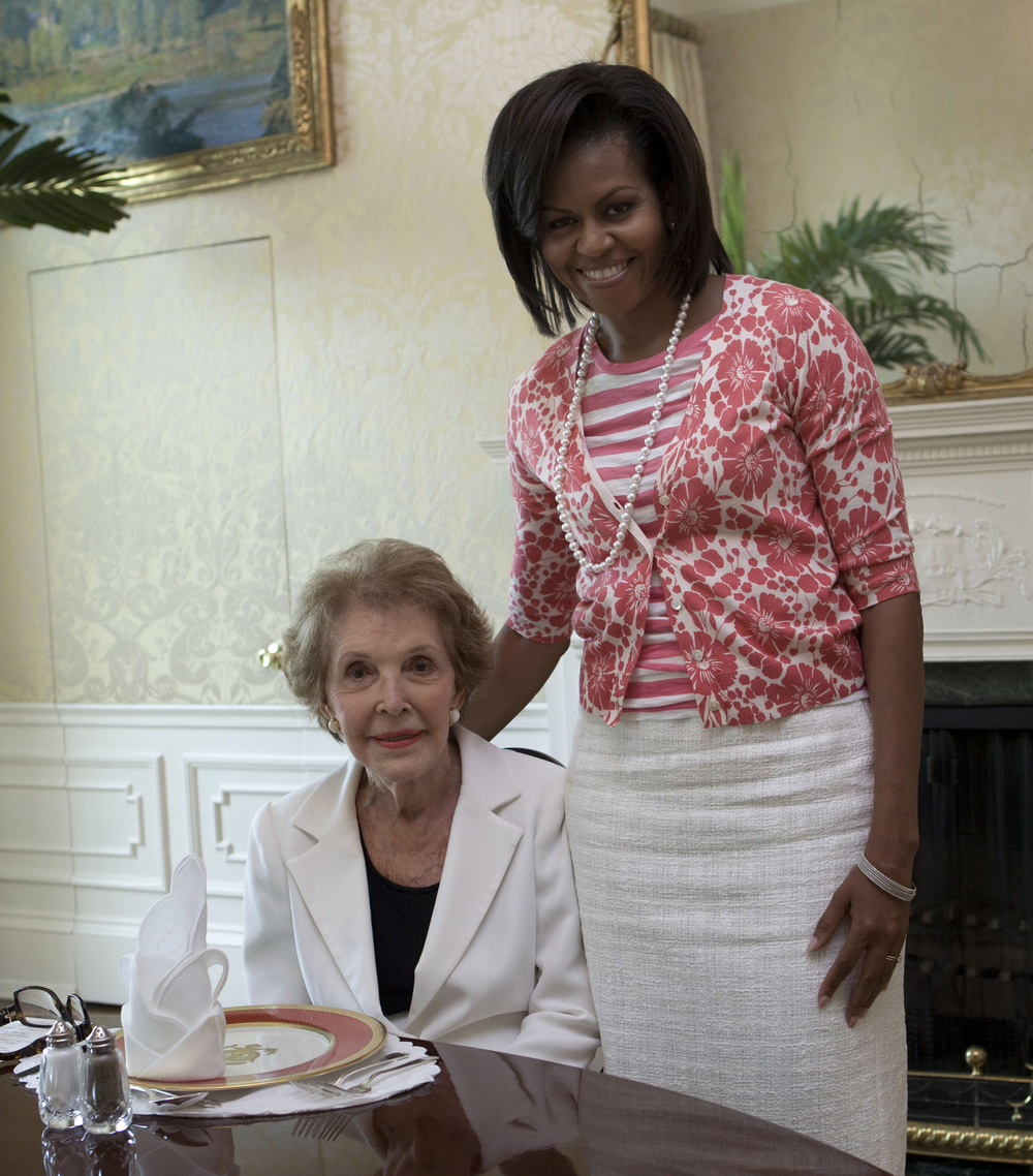 Former first lady Nancy Reagan with current First Lady Michelle Obama. Credit: Official White House Photo by Samantha Appleton via Wikimedia Commons.