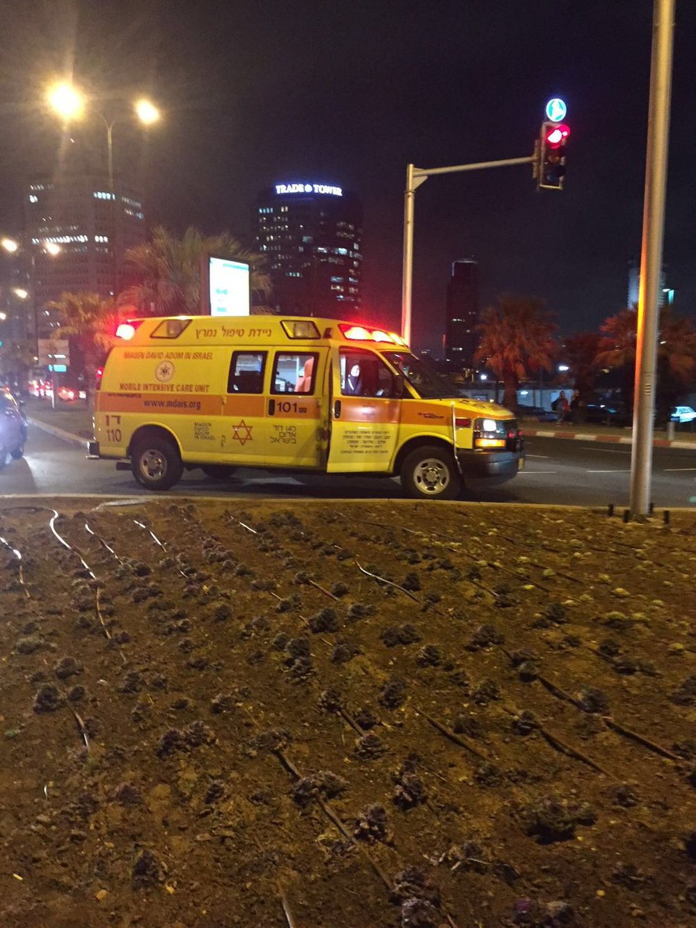The Magen David Adom emergency response group responds to Tuesday's deadly stabbing spree in Jaffa, which killed an American tourist and injured 11 Israelis. Credit: Twitter.