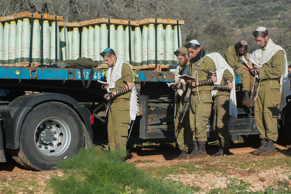 Click this photo to download. Caption: Israeli soldiers reinforcing IDF presence in the Golan Heights in January. Credit: (Basal Awidat/Flash90).